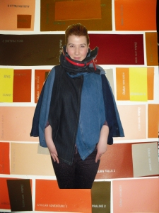 my lovely daughter modelling my denim cape